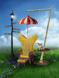 Fantasy scenery with a chair Royalty Free Stock Photos