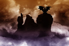 Fantasy scenery with dragon Royalty Free Stock Images