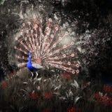 Fairytale peacock among the trees stock illustration