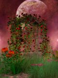 Fantasy Scenery with red roses Stock Images