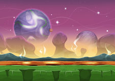 Fantasy Sci-fi Alien Landscape For Ui Game. Illustration of a seamless cartoon funny sci-fi alien planet landscape background, with layers for parallax including stock illustration