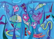 Fantasy sea creatures. With fish stock illustration