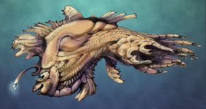 Fantasy seafish. Handmade colored sketch of fairytale sea fish Royalty Free Stock Photography