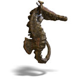 Fantasy seahorse. Sea horse or hippocampus. 3D render with clipping path and shadow over white Stock Photos