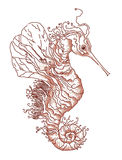 Fantasy seahorse. In white background. Embroidery schedule. Cross-stitch graphic illustration Royalty Free Stock Image