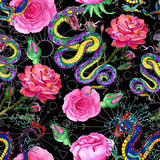 Fantasy seamless background with snake, dragon and flowers Stock Images