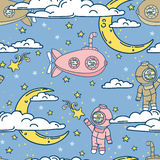 Fantasy seamless background for sweet dreams with doodle moons, clouds and old fashioned submarines Royalty Free Stock Photo