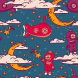 Fantasy seamless background for sweet dreams with doodle moons, clouds and old fashioned submarines Stock Image