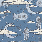 Fantasy seamless background for sweet dreams with doodle moons, clouds and old fashioned submarines Royalty Free Stock Photos