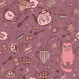 Fantasy seamless pattern. Fantasy tea time elements vector seamless pattern Royalty Free Stock Images