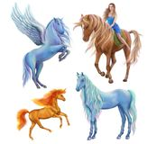 Fantasy set beautiful unicorns illustrations Royalty Free Stock Photo