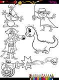 Fantasy set cartoon coloring page Royalty Free Stock Image
