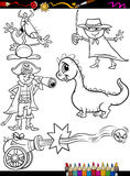 Fantasy set cartoon coloring page Royalty Free Stock Image
