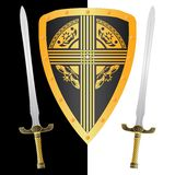 Fantasy shield and swords Stock Image