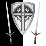 Fantasy shield and swords Royalty Free Stock Images