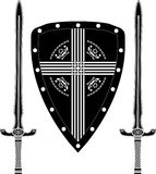 Fantasy shield and swords of european warriors Stock Image
