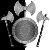 Fantasy Shields And Axes Stock Photography