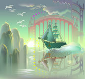Fantasy ship in fairyland. Stock Images