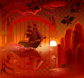 Fantasy ship in fairyland. Royalty Free Stock Images