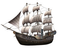 Fantasy ship with white sails. 3D render of a fantasy ship with white sails Royalty Free Stock Image