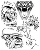 Fantasy art sketches. A variety of black and white fantasy sketches or drawings include a skull, snake, bulldog, and heart royalty free illustration
