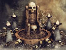 Skull throne surrounded by burners. Fantasy skull throne surrounded by burners, skulls and human bones in an old castle vector illustration