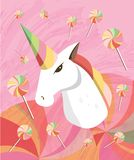 Fantasy sly unicorn head, lollipops and twirls illustration for girls. stock illustration