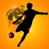 Fantasy soccer player. Fantasy silhouette soccer player on a yellow background Stock Photography
