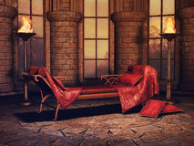 Fantasy sofa and torches Royalty Free Stock Photos