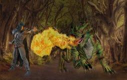 Fantasy sorcerer battling fire eating dragon. Fantasy surreal sorcerer wizard battling a fire eating dragon on a path in dim eerie old forest landscape stock illustration