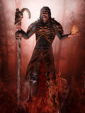 Fantasy sorcerer and flames. Fantasy sorcerer standing in fire and holding a skull staff and a flame in his hands Royalty Free Stock Images