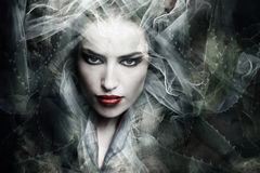 Fantasy sorceress. Dark fantasy sorceress woman, composite photo royalty free stock photo