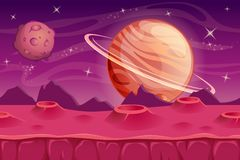 Fantasy space background for UI game. Alien landscape background royalty free illustration