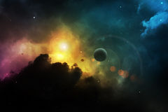 Fantasy space nebula with planet Royalty Free Stock Photography