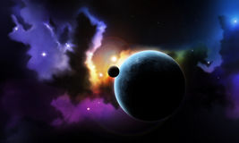 Fantasy space nebula and planet with satellite vector illustration