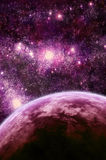 Fantasy space scene. Fantasy-like space scene with a planet and stars royalty free illustration
