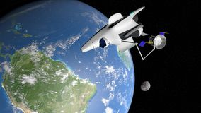 Fantasy space shuttle placing in the orbit of planet Earth a communications satellite. With the moon and the sun in the background. 3D illustration vector illustration