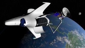 Fantasy space shuttle placing in the orbit of planet Earth a communications satellite. With the moon in the background. 3D illustration royalty free illustration