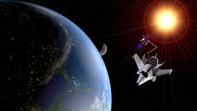 Fantasy space shuttle placing in the orbit of planet Earth a communications satellite with the moon and the sun in the background. 3D illustration royalty free illustration