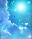 Fantasy Space Stars and Sky Background. Imaginary space stars and  blue sky background Royalty Free Stock Photo