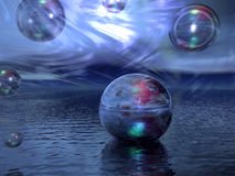 Fantasy Spheres. Water, and Sky stock illustration