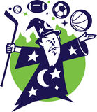 Fantasy Sports Wizard. A wizard conjuring game balls from his hockey stick staff Stock Photos