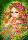 Fantasy Spring Beautiful fairy woman with summer flowers.  nature. fashion portrait Royalty Free Stock Photo