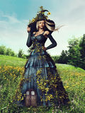 Fantasy spring woman Royalty Free Stock Image