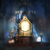 Fantasy stage with blue drape Royalty Free Stock Images