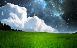 Fantasy starry night landscape with nebula Royalty Free Stock Photography