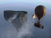 Free Fantasy Steampunk Floating Island Balloon Stock Photography - 150607242