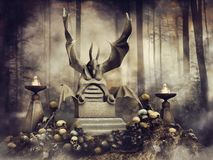 Stone throne among skulls. Fantasy stone throne in the shape of a gargoyle surrounded by skulls in the woods royalty free illustration