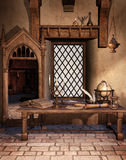 Fantasy study room stock illustration