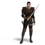 Fantasy Style Fighter with Sword. With Clipping Pa Royalty Free Stock Photography